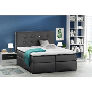 Kontinentální čalouněná postel Nora - Eko-kůže s dekorací (200x200 cm) Barva látky Eko-kůže: Černá (19)