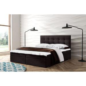 Kontinentální čalouněná postel Oslo - Lux (120x200 cm) Barva látky Lux: 13 Tmavě hnědá