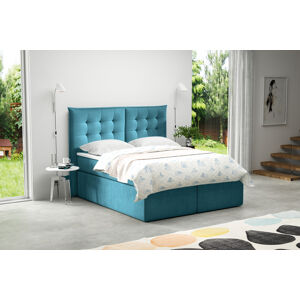 Kontinentální čalouněná postel Soft - Cassablanca (200x200 cm) Barva látky Casablanca: Azurová (13)