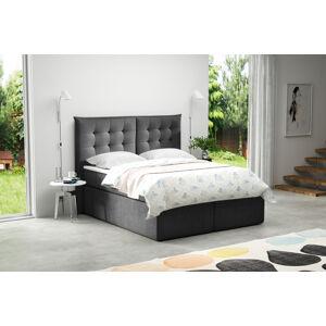 Kontinentální čalouněná postel Soft - Cassablanca (160x200 cm) Barva látky Casablanca: Grafitová (15)
