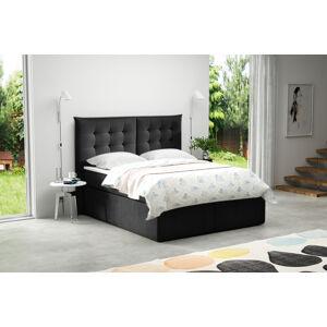 Kontinentální čalouněná postel Soft - Cassablanca (160x200 cm) Barva látky Casablanca: Černá (16)