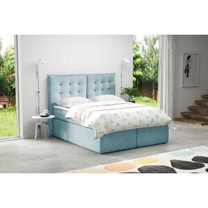 Kontinentální čalouněná postel Soft - Cassablanca (120x200 cm) Barva látky Casablanca: Modrá (22)