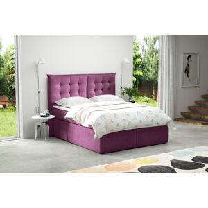 Kontinentální čalouněná postel Soft - Cassablanca (120x200 cm) Barva látky Casablanca: Fialová (11)