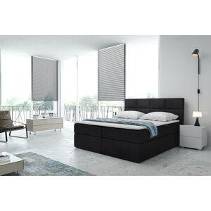 Kontinentální čalouněná postel Smoth - Cassablanca (160x200 cm) Barva látky Casablanca: Černá (16)