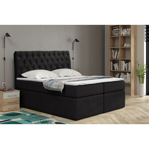 Kontinentální čalouněná postel Luxurious - Cassablanca (160x200 cm) Barva látky Casablanca: Černá (16)