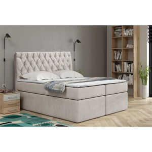 Kontinentální čalouněná postel Luxurious - Cassablanca (160x200 cm) Barva látky Casablanca: Krémová bíla (01)