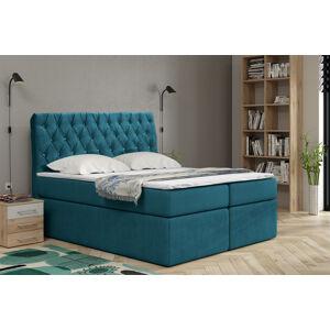 Kontinentální čalouněná postel Luxurious - Cassablanca (200x200 cm) Barva látky Casablanca: Azurová (13)