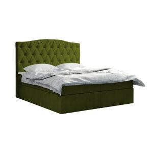 Kontinentální čalouněná postel Exclusive - Fresh (140x200 cm) Barva látky - Fresh: Olivová (12)