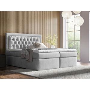 Kontinentální čalouněná postel Mona - Trinity (160x200 cm) Barva látky Casablanca: Šedá (14)
