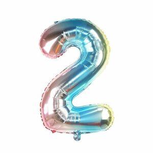 """Balónek fóliový """"2"""" - duhový"""