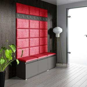 Eka Předsíňová stěna s čalouněnými panely Trinity 6 - Červená