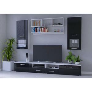 IDZ Obývací stěna Franco - Černá / Bílá Barva dřeva: Černá + Bílá