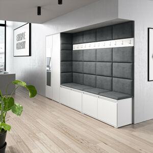 Předsíňová stěna se skříní s čalouněnými panely Trinity 9 Barva látky: (2315) Tmavá šedá, Dekor dřeva: Bílá