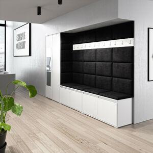 Předsíňová stěna se skříní s čalouněnými panely Trinity 9 Barva látky: (2316) Černá, Dekor dřeva: Bílá