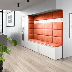 Předsíňová stěna se skříní s čalouněnými panely Trinity 9 Barva látky: (2317) Oranžová, Dekor dřeva: Bílá