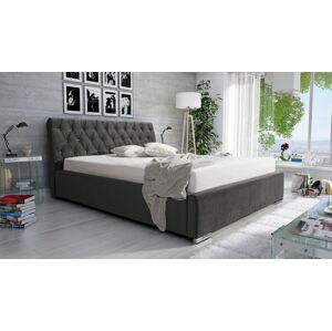 Eka Čalouněná postel Luxurious 180x200 cm – Kovový rám, Tmavá šedá (2315) Barva látky: (2315) Tmavá šedá
