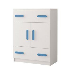 IDZ Komoda Smyk - Bílá / Barevné úchytky Barva: Modrá
