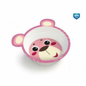 Canpol babies Melaminová miska protiskluzová s oušky HELLO LITTLE 490 ml růžová