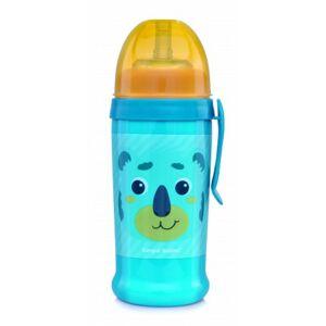 Canpol babies Láhev sportovní s nevylévací slámkou HELLO LITTLE 350 ml zelená