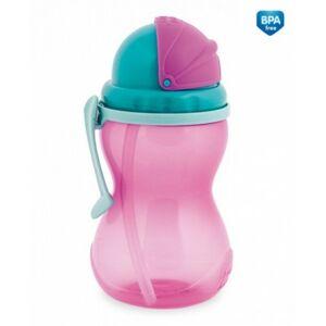 Canpol babies Sportovní lahev se slámkou 370ml růžová